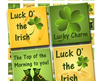 Buy 2 GET 1 FREE - Instant Download - St. Patrick's Day Lucky Charms Collage Sheet - 1 inch squares for pendants stickers tiles magnets 193