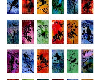 Instant Download - Original Art Digital Collage Sheet - 1x2 inch domino size for pendants, glass tiles, magnets 55