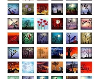 Instant Download - Digital Collage Sheet of my original paintings 1inch sq. for jewelry, pendants, magnets, stickers 52