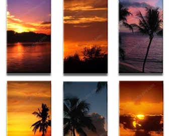 Instant Download - Peaceful Landscapes Sunsets Digital Collage Sheet - 1x2 inch rectangles for pendants, magnets 139