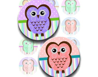 Instant Download - Funky Owls Set 2 4x6 Collage Sheet 1 inch circles for bottle caps, pendants, hair bows, magnets DSP136