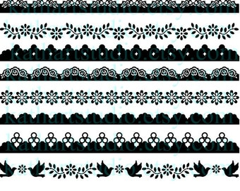 Instant Download - Floral Clipart Borders for Scrapbooking, Card Making, Personal and Commercial Use 58
