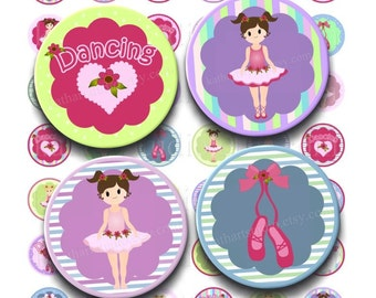 Instant Download - Ballet Ballerina Dancing Collage - 1 inch circle for bottlecap pendant stickers tiles magnets bows 255