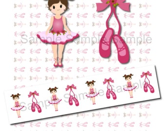BUY 2 GET 1 FREE - Instant Download - Ribbon Graphics Images - Print Your Own 7/8 inch Cute Ballerina and Ballet Shoes Ribbon 268