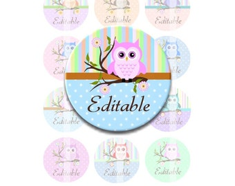 Instant Download - Editable Owl on a Branch 4x6 Collage Sheet 1 inch circles for bottle caps, pendants, hair bows DSP144