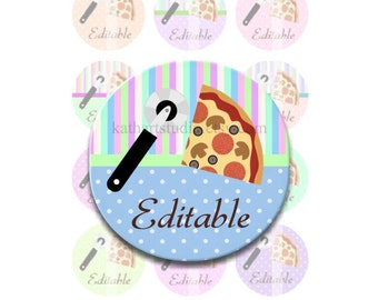 Instant Download - Editable Pizza Party 4x6 Collage Sheet - 1 inch circles for bottle caps, pendants, hair bows, DSP146