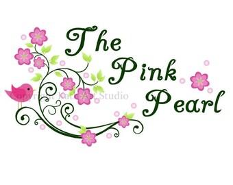 Premade Business Logo Design Floral Bird Logo 58 The Pink Pearl
