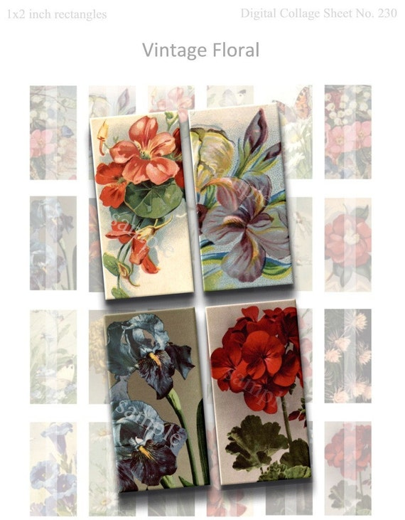 Instant Download - Vintage Floral Digital Collage Sheet - 1x2 inch rectangles for pendants, tiles, magnets, etc. 230