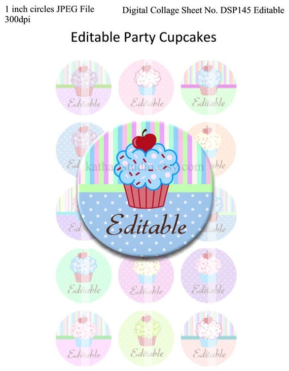 Instant Download - Editable Party Cupcakes 4x6 Collage Sheet 1 inch circles for bottle cap pendants hair bows DSP145