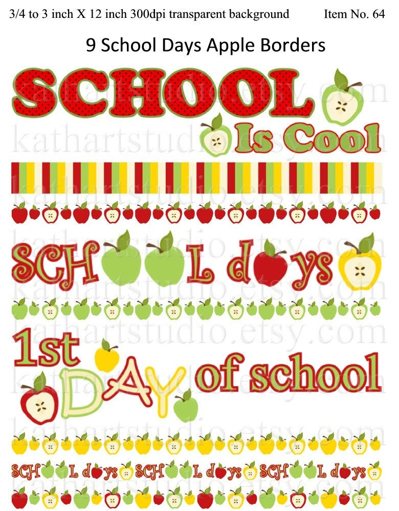 Instant Download School Days Apple Borders Clip Art Set