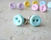 Button Earrings for Little Girls in Blue Pastel Colors Cute Post Earrings Tiny Stud