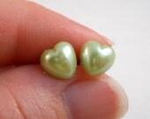 Green Heart Earrings for Girls Gifts Under 5 Flower Girl Jewelry Little Girl Earrings Light Green Hearts Tween Jewelry Post Earrings
