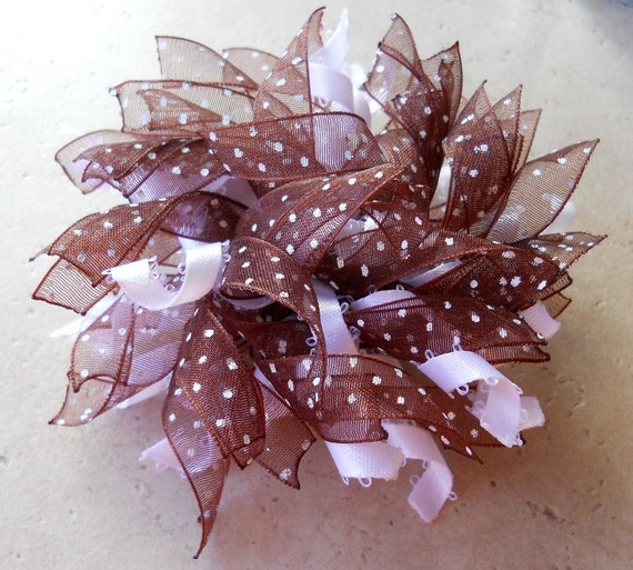 Brown and white polka dot corker boutique bow on small french barrette