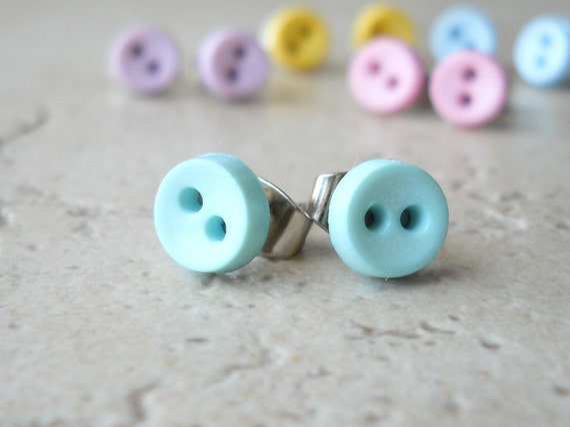 Button Earrings for Little Girls in Blue Pastel Colors Cute Post Earrings Tiny Stud