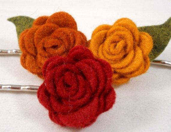 Autumn Hair Accessories Bobby Pin Set Pumpkin Copper Garnet Flowers Pretty Bobby Pins Gift Ideas for Teen Girls Women Hair Bun Accessories