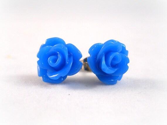 Blue Flower Earrings Little Rose Post Studs