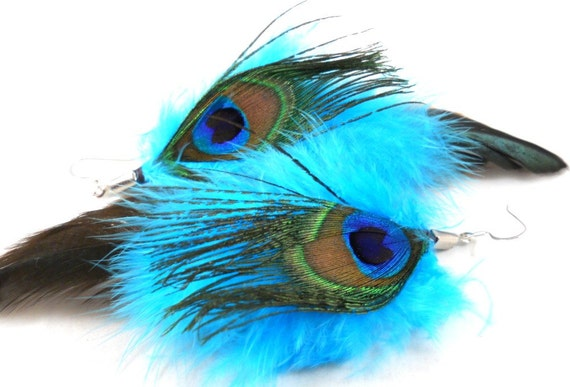 Peacock Feather Earrings Teen Girls Jewelry Bright Blue Feathers