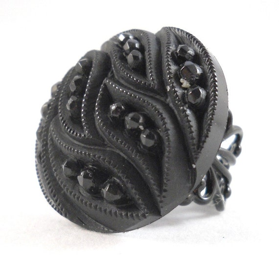 Black Cocktail Rings Big Fashion Ring