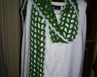 New(Ready to Ship) Crocheted Scarf - Wrap - Cowl - Shawl -  Accessories - Womens Wear  ''COLETTE''  in Kelly Green and Whie