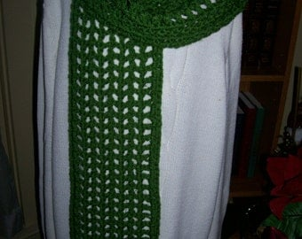 Crocheted Scarf- Wrap - Shawl - Cowl - Accessories - Womens Wear   ''COLETTE''    in Kelly Green