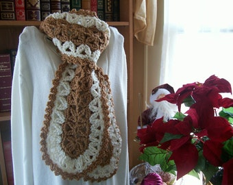 Crocheted Scarf - Wrap Cowl - Shawl - Accessories -  Women's Wear  ''VANNA''  in Warm Brown and Aran