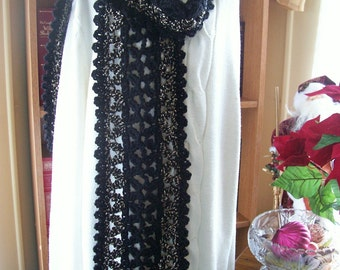 Crocheted Scarf - Cowl - Shawl - Cape - Accessories - Womens Wear   ''VANNA''  in Black and Black Tweed