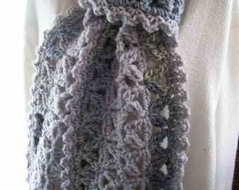 New(Ready to Ship) Crocheted Scarf - Wrap - Cowl - Shawl -  Accessories - Womens Wear   ''VANNA''    in Grays