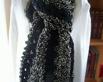 New(Ready to Ship) Crocheted Scarf - Cowl - Shawl - Accessories - Womens Wear - Wrap    ''VANNA''    in Black and Black Tweed