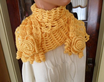 Crocheted Wrap - Shawl - Capelet - Scarf -  Wedding - Accessories - Womens Wear ''ROSES AND LACE'' in Buttercup