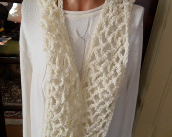 New(Ready to Ship) Crocheted  Scarf  - Wrap -  Shawl - Women -   Accessories -  Outerwear -  ''COLLETTE''  in Off-white