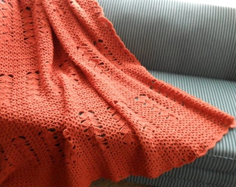 New(Ready to Ship) Crocheted Afghan - Blanket  - Throw - Bedspread - Coverlet - XLarge   ''V-STITCH SHELL''   in Paprika