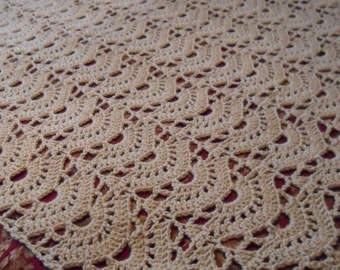 New(Ready to Ship) Crocheted Afghan - Throw -  Coverlet -  Blanket - Bedspread - XLarge   ''FAN''  in Buff