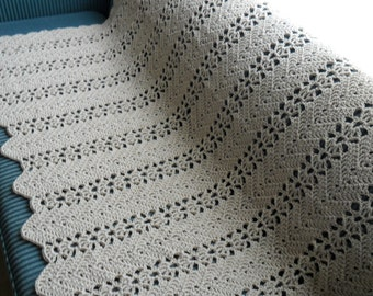 New(Ready to Ship) Crocheted Afghan - Blanket - Throw - Bedspread - XLarge  ''LACY RIPPLE''  in Buff