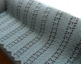 New(Ready to Ship) Crocheted Afghan - Blanket - Throw - Bedspread - XLarge   ''LACY RIPPLE'' in Soft Aqua
