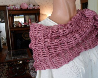 New(Ready to Ship) Crochet Wrap - Shawl - Capelet - Scarf -  Wedding - Easter- Accessories - Womens Wear  ''ROSES AND LACE''  in Plum Wine