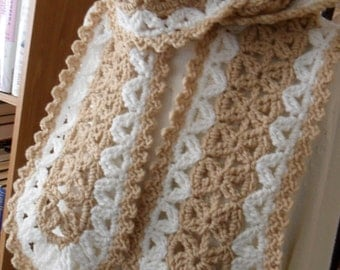 New(Ready to Ship) Crocheted Scarf - Wrap - Shawl - Cowl - Accessories -  Women'sWear  ''VANNA''   in Buff and Aran