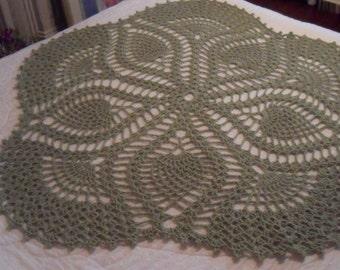 Crocheted Afghan - Throw - Accessories -  Blanket- Bedspread (52in Diameter) ''FIVE SIDED PINEAPPLE'' in Frosty Green
