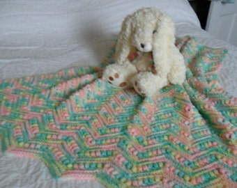 Crocheted Baby Afghan - Throw  - Blanket in Pastel Multi-Colored Ripples with Puff Stitch