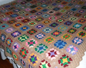 New(Ready to Ship) Crocheted Afghan - Blanket - Throw - Bedspread   ''GRANNY SQUARE''   in Caramel and Multicolor