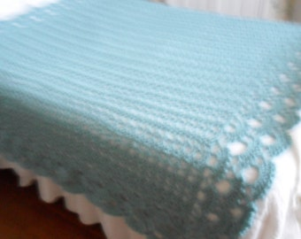 New(Ready to Ship) Crocheted Afghan King (Queen)  Blanket - Bedspread - Coverlet - Throw   ''SHELLS  GALORE''   in Soft Aqua