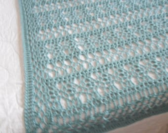 New(Ready to Ship) Crocheted Afghan -  Blanket - Throw - Bedspread  XLarge   ''BOUDOIR''   in Soft Aqua