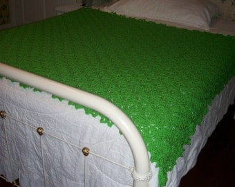 New(Ready to Ship) Crocheted Afghan -  Blanket  - Throw - Coverlet - Bedspread - XLarge  ''SPRING BUD'' in Beautiful Spring Green