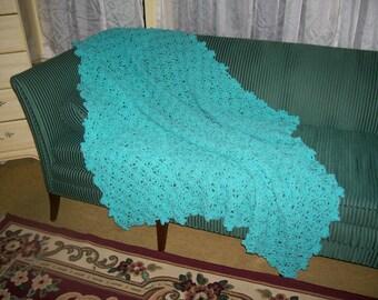 Crocheted Afghan - Bedspread -  Blanket -  Throw - XLarge    ''SPRING BUD''  in Caribbean Sea