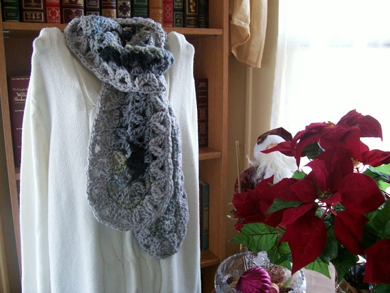 New(Ready to Ship) Crocheted Scarf - Wrap- Cowl - Shawl - Accessories -  Women's Wear   ''VANNA''    in Grays