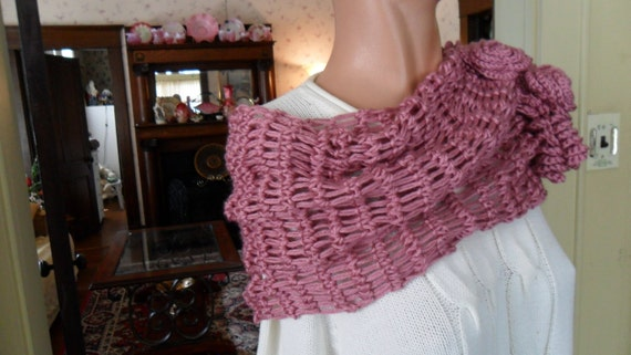 Crochet Wrap - Shawl - Capelet - Scarf -  Wedding - Easter- Accessories - Womens Wear  ''ROSES AND LACE''  in Plum Wine