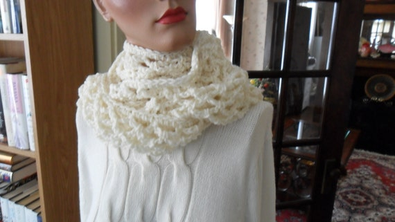 New(Ready to Ship) Crocheted Scarf - Wrap - Neckwear - Cowl - Shawl - Accessories - Womens Wear   ''ALLIE''   In Off-white