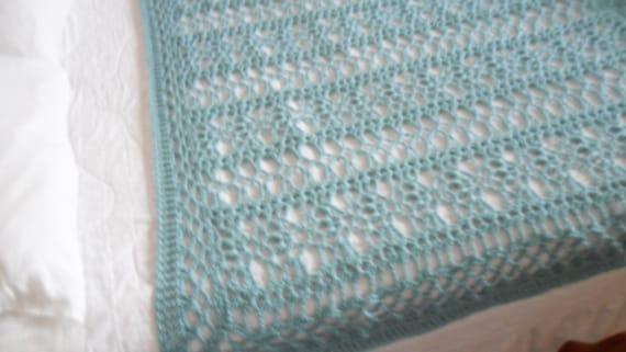 New(Ready to Ship) Crocheted Afghan -  Blanket - Throw - Bedspread  XLarge   ''BOUDOIR''   in Soft Aqua