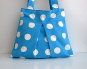 NEW-THIS BAG BY REGISTERED MAIL ARE SENT-SALE BAG-BLUE AND WHITE Spotted-SUMMER-DOUBLE STRAPS-XL-BEACH BAG-READY TO SHIP