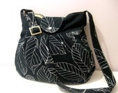 Shoulder Bag-Diaper Bag-Messenger-Holiday Gift-Black Canvas  Leaves -Adjustable to Straps