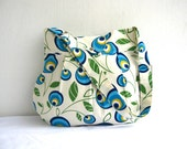 Sale % 10 off-Green Leaves-Multicolor-Canvas-Pleated-Adjustable to Straps-Everyday Bag-Blue Yellow Cream Green